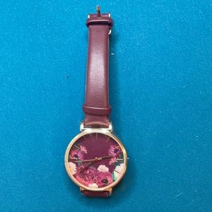 Wine colour floral analogue watch with stainless steel back